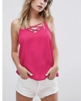 New Look Bright Pink Criss Cross Cami Top U.K. Size 10 New With Tags