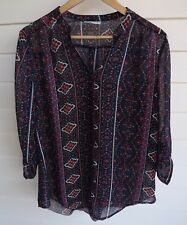 Rockmans Women's Sheer Blue White Red Pink Blouse Top - Size 12