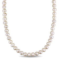 """7.5-8 mm White Cultured Freshwater Pearl Endless Necklace Strand 36"""""""