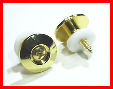 PAIR OF GOLD CHROME MODERN STYLE GUITAR STRAP BUTTONS / PINS FOR GUITAR OR BASS