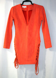 IN THE STYLE Laced Up Side Splits Slimline Fitted Faux Suede Dress Size 8