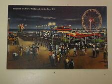 Playland at Night Amusement Wildwood New Jersey 1950's Linen Postcard