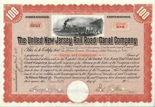 The United New Jersey Rail Road and Canal Compagny certificat 100 Shares 1906
