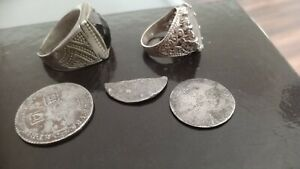 Metal Detecting Finds two milled silver coins and two silver rings please read