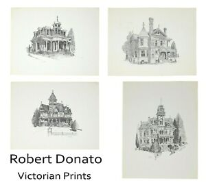Set of 4 Robert Donato Pen and Ink Drawing Architectural Vtg Prints 1966-1977
