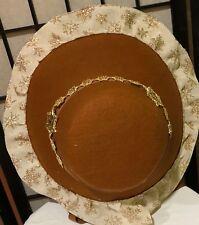 LIGHT BROWN VICTORIAN DICKENS CHRISTMAS CAROLER COSTUME BONNET HAT-SNOWFLAKE-NEW