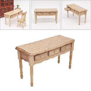 1:12 Dollhouse Miniature Furniture Oak Wood Desk Doll House Life Scene
