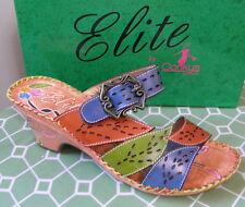 CORKYS ELITE BALI Leather Hand-painted Slip-On Flower Sandal Size 11 M