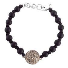 21.05 Ct. Pave Diamond Black Onyx 925 Sterling Silver Beaded Bracelet Jewelry