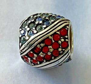 Brighton AMERICANA RED & BLUE Rows Sparkle Crystals Patriotic ABC Bead Spacer