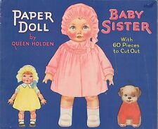 Vintge Uncut 1929 Baby Sister Paper Doll ~13 Pg Whitman Org Size~Lasr Reprodctn