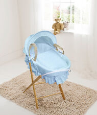 Blue Broderie Anglaise Palm Moses Basket & Folding Stand