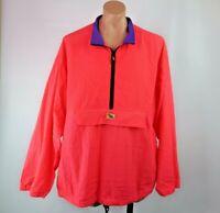 Gotcha Neon Pink 1/4 Zip Pullover Windbreaker VTG 90s Jacket Anorak Sz XL