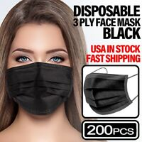*200 PCS* BLACK 3-PLY Face Mask Non Medical Disposable Earloop Mouth Nose Cover