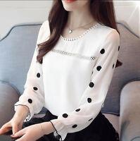 New Polka Dot Chiffon Shirt Women Crew Neck Long Sleeve Casual Loose Blouse Tops