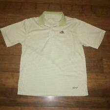 Green Striped Mens Moisture Wicking Play Dry Polo Shirt Greg Norman Medium