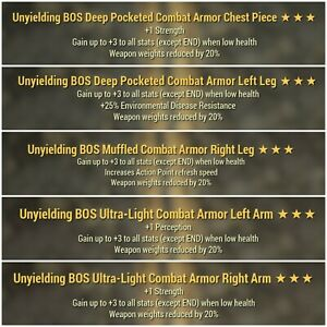 Fallout 76 Xbox one Unyielding BOS Weapon weight reduction combat Armor