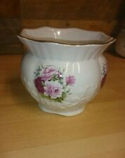 Floral Maryleigh Pottery Porcelain Flower Pot Handcrafted In England