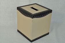 LABRAZEL Spectator Black Fine Leather Tissue Box Cover Jamie Drake Italy New