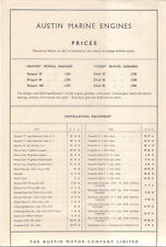 Austin Marine Engines Skipper and Chief 1949 Price List