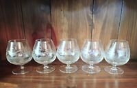 Set of 5 Vintage Moser Rowland Ward Engraved Small Brandy Snifter Crystal Glass