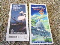 Vintage 1993 AAA Map DE DC MD VA & 1973 GULF METRO WASHINGTON also TourBook 1995