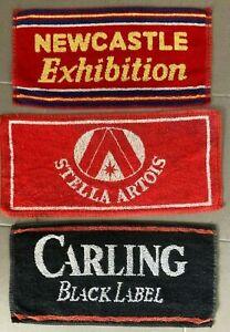 "3 Bar Towels. Vintage. Rare. Pub Memorabilia. Including Newcastle Exhibition ""X"""