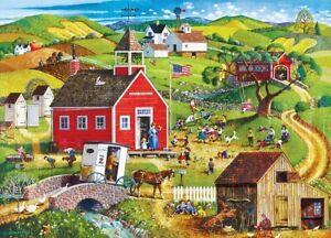 Jigsaw Puzzle Americana School Days Little Red Schoolhouse 500 EZ Grip piece NEW