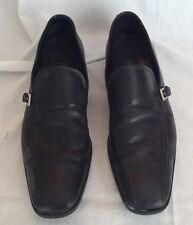 Prada Men's Black Dress Shoes Loafers Slip On Silver Buckle Round Toe Size 8.5