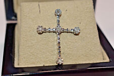Baguette & Round Diamond Cross Pendant in 14K White Gold