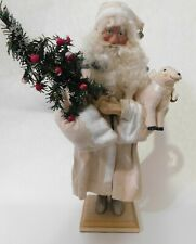"""House of Hatten Old World White Robed Santa Claus w/Lamb Christmas Figurine 16"""""""