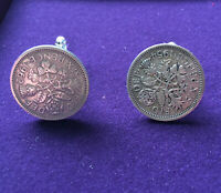 Coin Six Pence Cuff links Genuine Silver Coins handmade