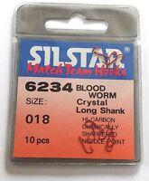 Silstar Gr. 18 Plättchenhaken 10 Stück Stipphaken Matchhaken Angelhaken rot