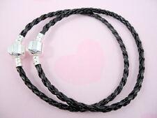 10pcs Black Charm Leather Bracelets Fit European Beads 20cm P11-7