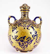 Antique 19th Century Royal Crown Derby Hand Painted Gold Foo Dog Cobalt Jar