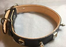 Black Genuine Leather Spiked Dog Collar: 1 inch wide, Fits 15-17 inch Neck,(Med)