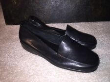 WHAT'S WHAT BY AEROSOLES SIZE 9M BLACK LEATHER LIFE LINE NIB SLIP ON