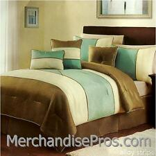 7 Pc 'Alloy Stripe' Comforter Set With 3 Accent Pillows King 104x90 New!