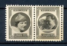 NEDERLAND 1937   2  x FOTO ZEGEL -JULIANA en BERNARD (*)  PRACHT  @1