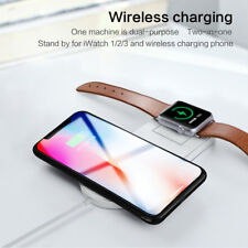 Qi Wireless Fast Charger Stand Dock Pad 2in1 For Apple Watch iPhone 8 X XS Max
