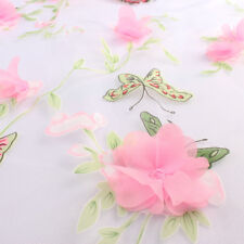 Light Weight Butterfly Printed Flower Appliqued Organza Fabric sold by Yard