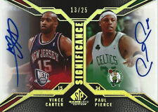 2007-08 SP Game Used SIGNIFICANCE Vince Carter Paul Pierce AUTOGRAPH #13/25 SSP