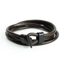 Infinity Men Women Multilayer Wrap Leather Brown Surfer Cuff Bangle Bracelet