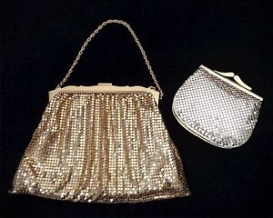 Vintage 1960s Whiting & Davis Gold Mesh Art Deco Evening Purse and Change Purse