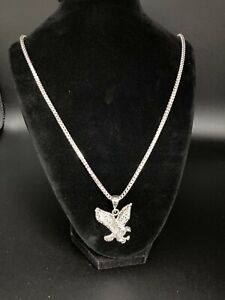 NEW SOLID REAL STERLING SILVER FRANCO CHAIN + EAGLE PENDANT