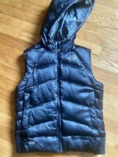 Womens Black 550 The Northface Lined Puffer Style Zip Up Vest Fur Hood S