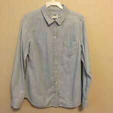 """Old Navy"" Women's Pinstripe Button Down Shirt Blue/White 100% Cotton Size S"