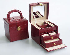 Lovely Travel Jewellery Case Creamy Velvet Leatherette