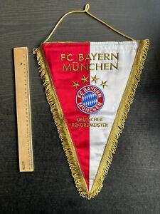Alter Wimpel FC Bayern München  - Vier Sterne - Übergabewimpel - Seide, gestickt