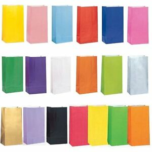 PAPER PARTY LOOT TREAT GIFT SWEET BAGS 15 COLOURS AVAILABLE ALL OCCASIONS